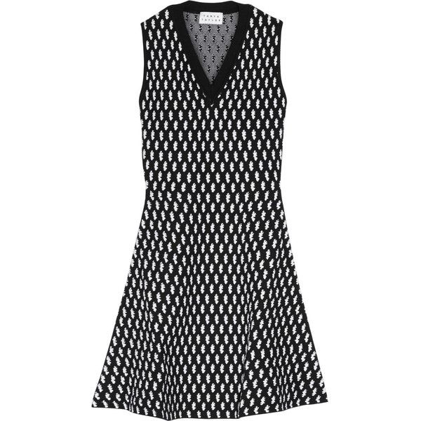 Tanya Taylor Mimi intarsia-knit modal-blend mini dress (2,225 CNY) ❤ liked on Polyvore featuring dresses, black, mini dress, knit mini dress, loose fitted dresses, polka dot mini dress and fitted knit dress