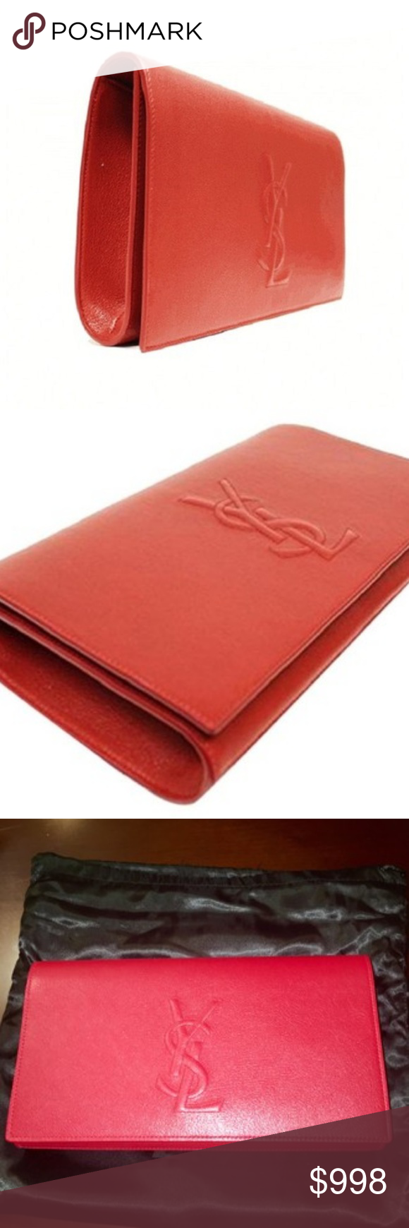 2b742d6c8 Spotted while shopping on Poshmark: YSL Yves Saint Laurent Red Leather  Large Clutch! #poshmark #fashion #shopping #style #Saint Laurent #Handbags