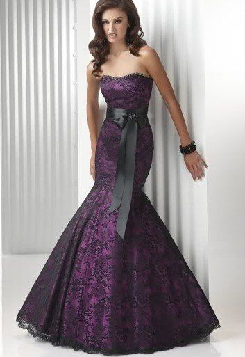 Hot Purples Black Lace Mermaid Prom Evening Party Dresses Formal Ball Gowns