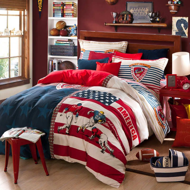 Cotton fabric stripe comforter bedding set queen full size