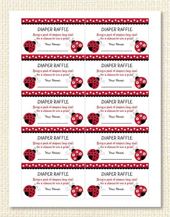 Ladybug Diaper Raffle Tickets Ladybug Baby Shower Red