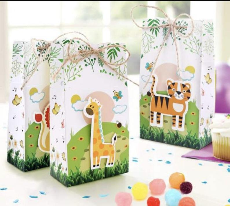 Safari Birthday Party Favor Boxes, Jungle Party Favors, Safari Baby Shower, Safari Birthday Party, Jungle Treat Boxes, 6 Safari Party Boxes #safaribirthdayparty