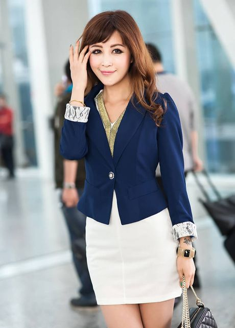 Cheap Cute Turndown Collar Navy Blue Blazer for OL in women coats ...