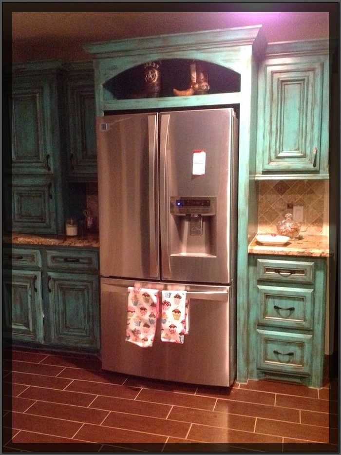 Distressed Turquoise Kitchen Cabinets (With images ...