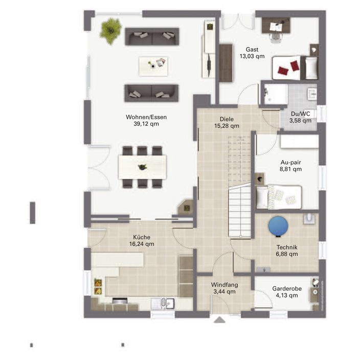 Grundriss einfamilienhaus modern gerade treppe  Luxus-Fertighaus Waldsee - Erdgeschoss | 건축 모델 | Pinterest ...
