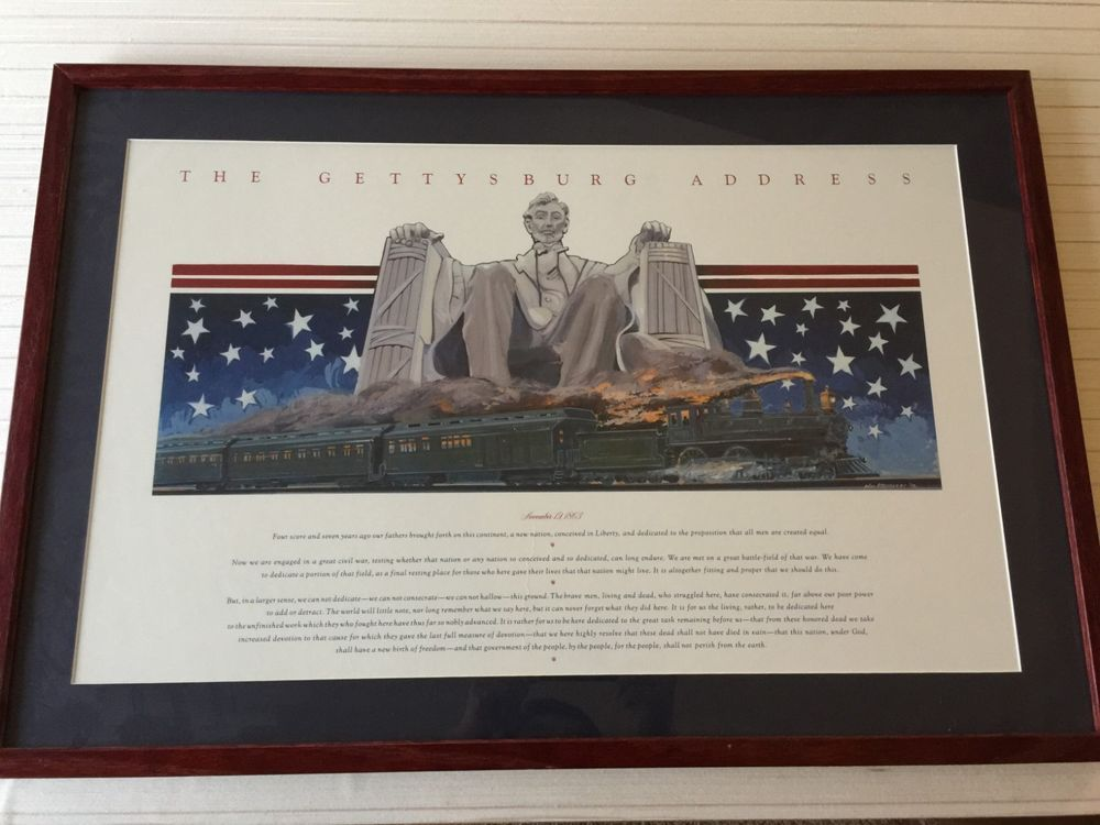 The Gettysburg Address Print Framed 26 1 2 X 16 1 4 Image 31 X 21 Frame Gettysburg Gettysburg Address Print