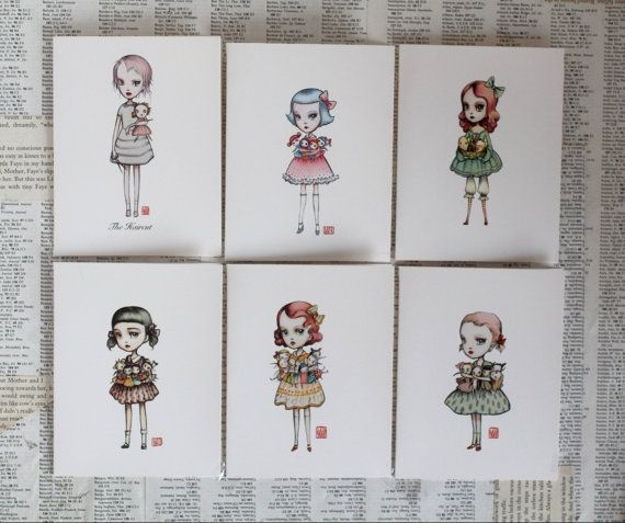 The Dolly Lovers Set - Mixed set of 6 blank note cards - by Mab Graves. $15.00, via Etsy.
