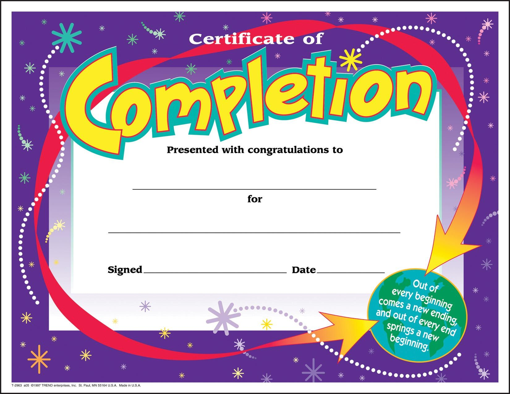 30 Certificates of Completion (large) certificate award pack by TREND