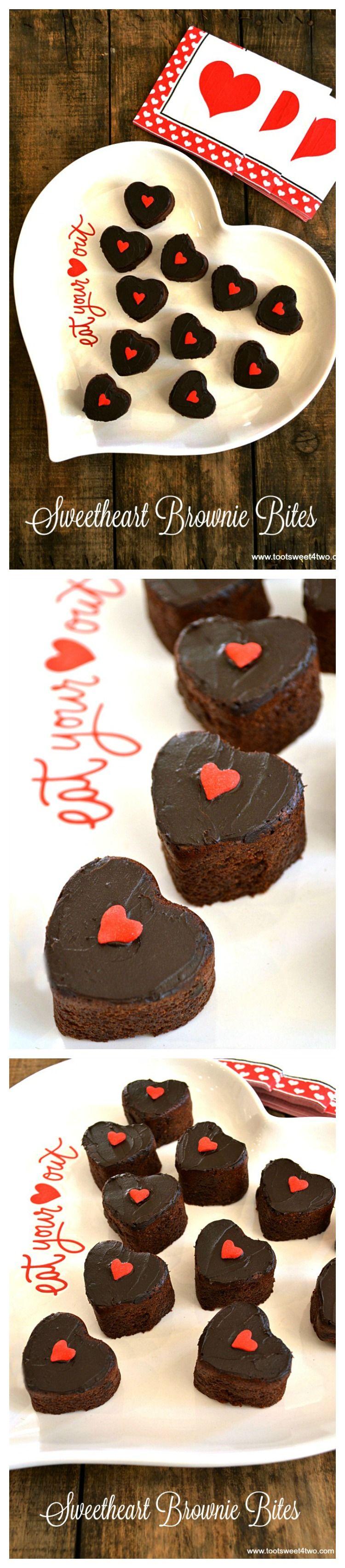 Sweetheart Brownies Bites collage