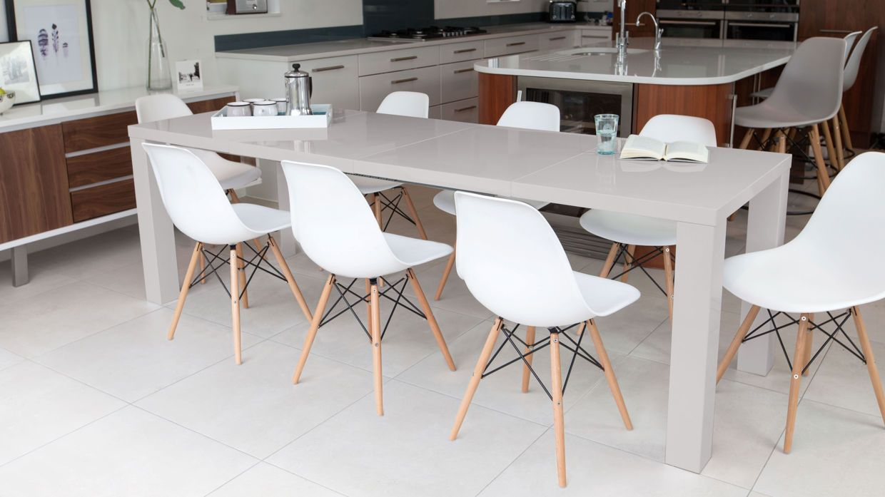 Fern Grey Gloss Extending Dining Table | Dining, Kitchens and ...
