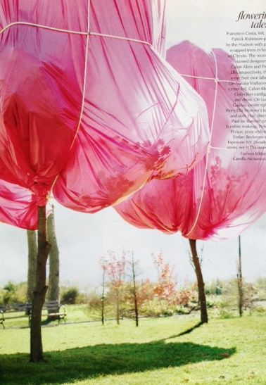 Pink wrapped trees along the Hudson River in honor of the artist Christo