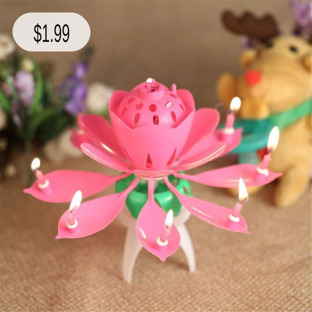 ROTATING Lotus Candle Birthday Flower Musical Floral Cake