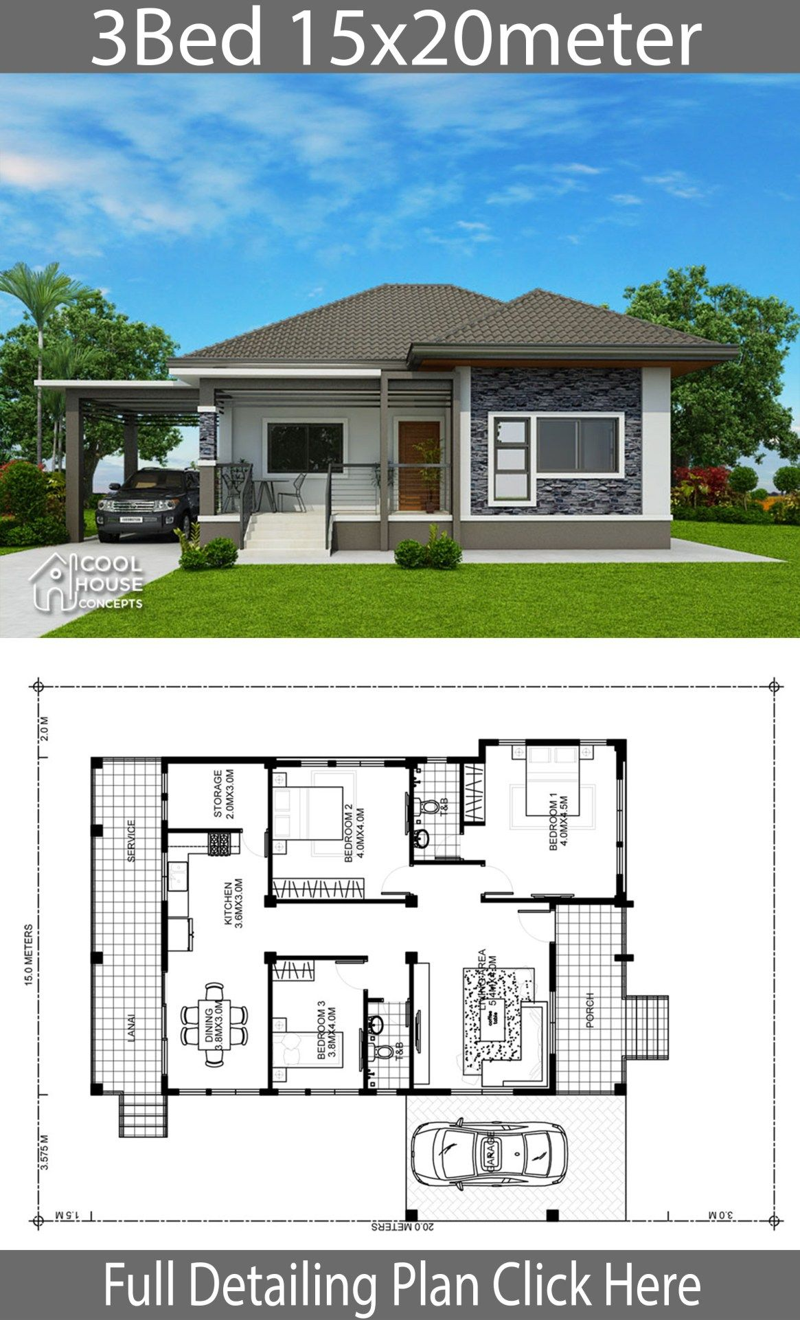 Home Design Plan 15x20m With 3 Bedrooms Home Design With Plansearch Philippines House Design Beautiful House Plans Modern Bungalow House