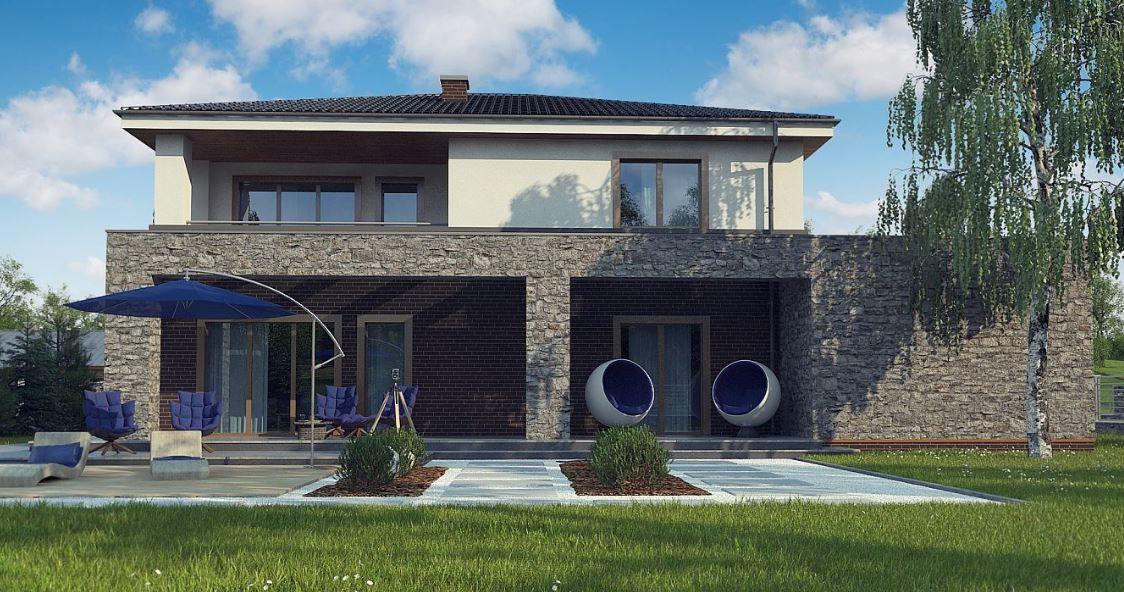 Casa moderna de dos pisos con piedra natural y ladrillos for Casa moderna 140 m2