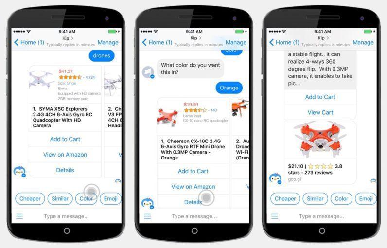 New Facebook Messenger bot Kip lets you shop using only