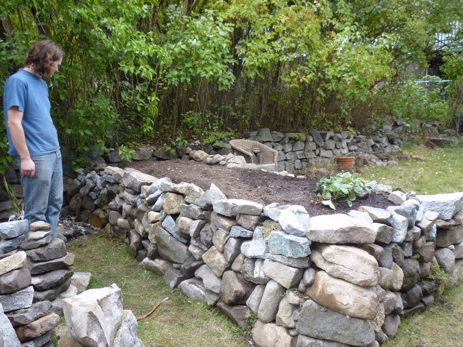 concrete raised bed wall garden | raised rock garden bed - awaiting