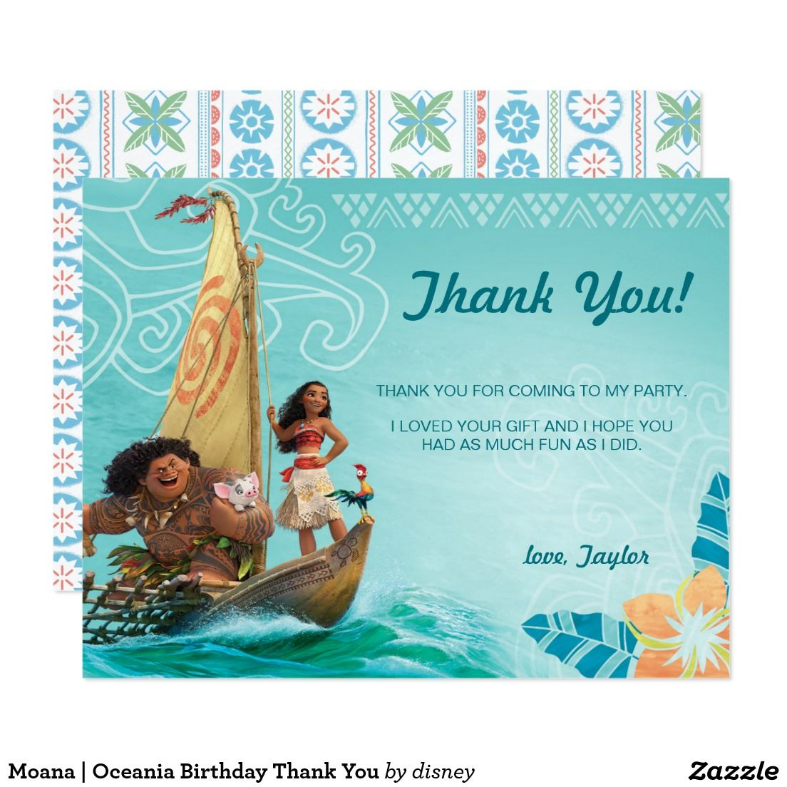 Moana | Oceania Birthday Thank You Card | Mom and Kids Stuffs and ...