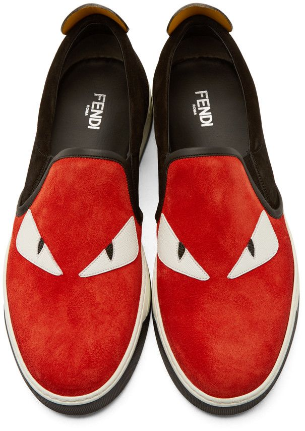 9445905b2398f Fendi Red Suede Slip-On Bugs Sneakers