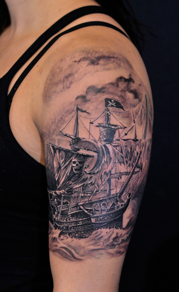 pirate ship tattoos | call chronic ink at 416 544 0311 or 905 305