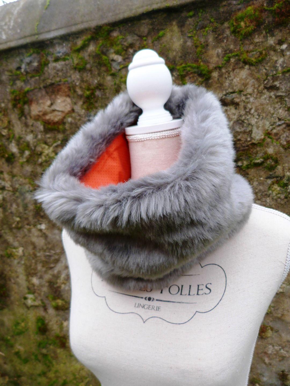 Col, snood, tour de cou, fourrure synthétique grise, coton plumetis rouge    Echarpe, foulard, cravate par leac e3515d1669a