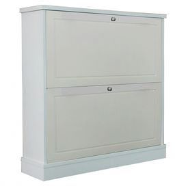 "Shoe storage cabinet with 2 fold-out drawers.  Product: Shoe cabinetConstruction Material: MDFColor: WhiteFeatures: Two drawersDimensions: 29.38"" H x 30"" W x 7.5"" D"