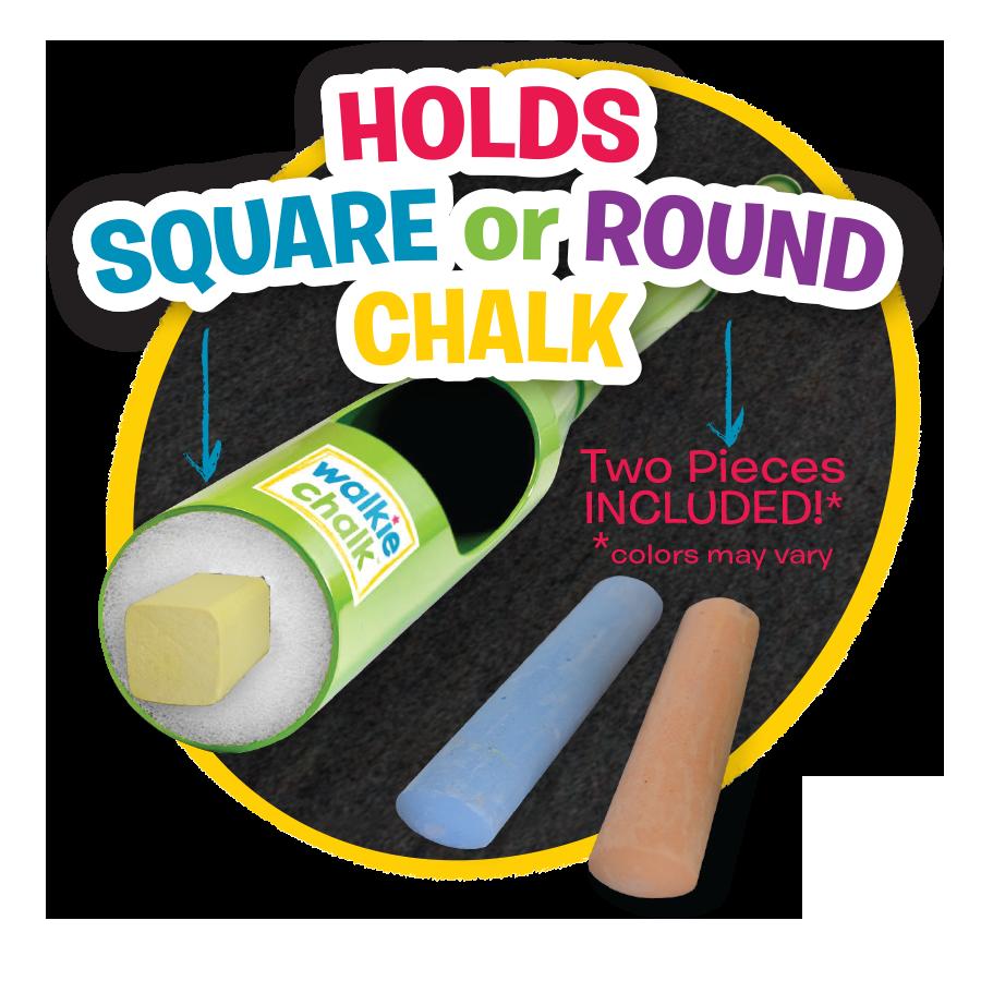 Walkie Chalk works with square or round chalks. #walkiechalk #sidewalkchalk #outdoorfun
