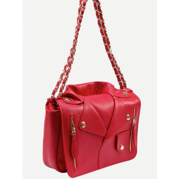 Red Moto Jacket Shoulder Bag ($21) ❤ liked on Polyvore featuring bags, handbags, shoulder bags, shoulder hand bags, shoulder handbags, red shoulder bag, red shoulder handbags and shoulder bag handbag