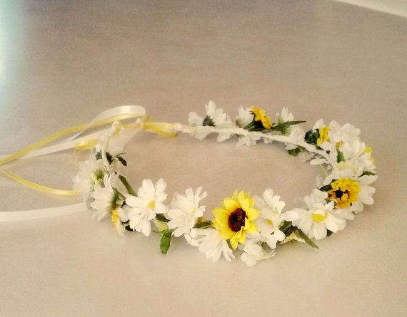 Pin By Bree On Dresses Daisy Flower Crown Wedding Hair Wreath Bridal Party Accessories