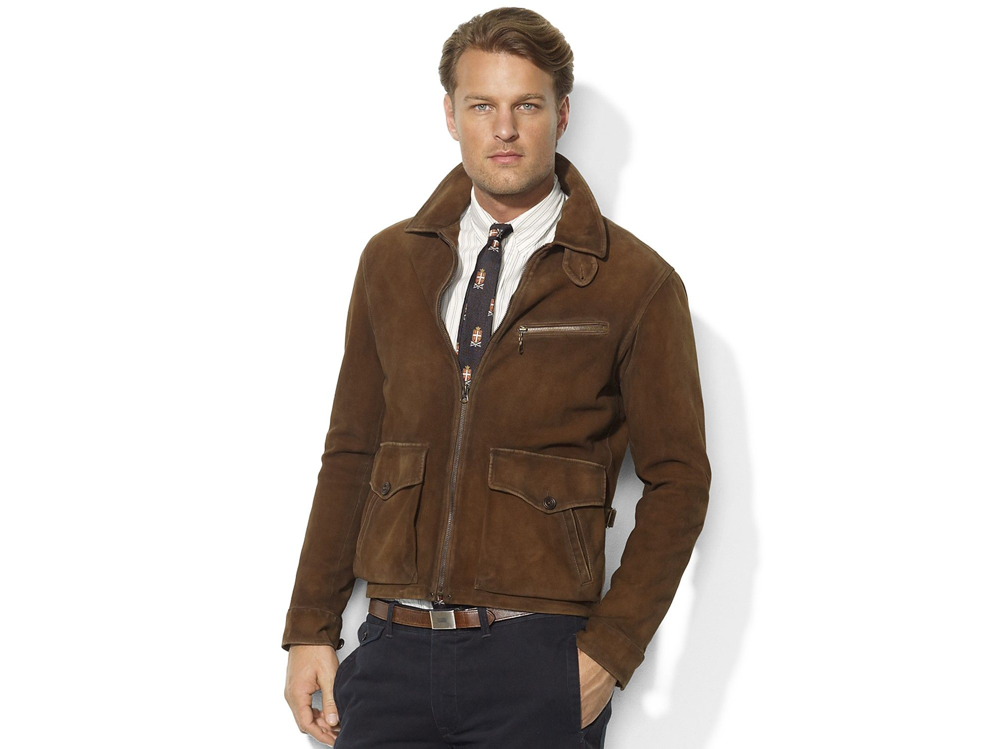 ralph lauren brown suede bomber jacket Google Search
