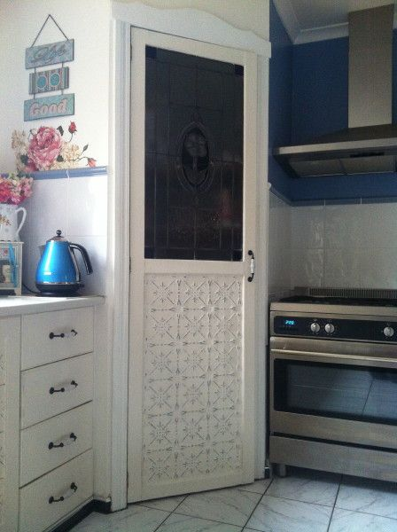 Hand Painted Cupboard Doors Using The Original Design Made From Pressed Metal This Customer Painted Her Panels Cabinet Doors Painted Cupboards Tin Kitchen