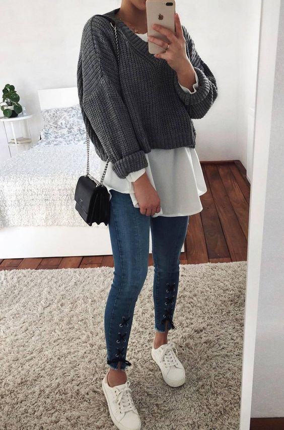best fall layered outfit / sweater   shirt   bag   lace up jeans   sneakers