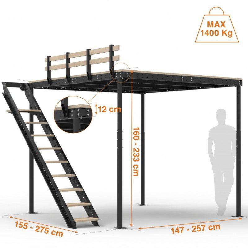Cama alta ts 8 con escalera lateral escalera camas y - Escaleras para camas altas ...