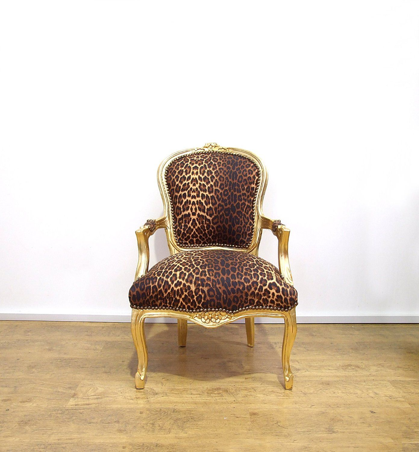 Vintage Retro French Louis XV Style Chair with Leopard