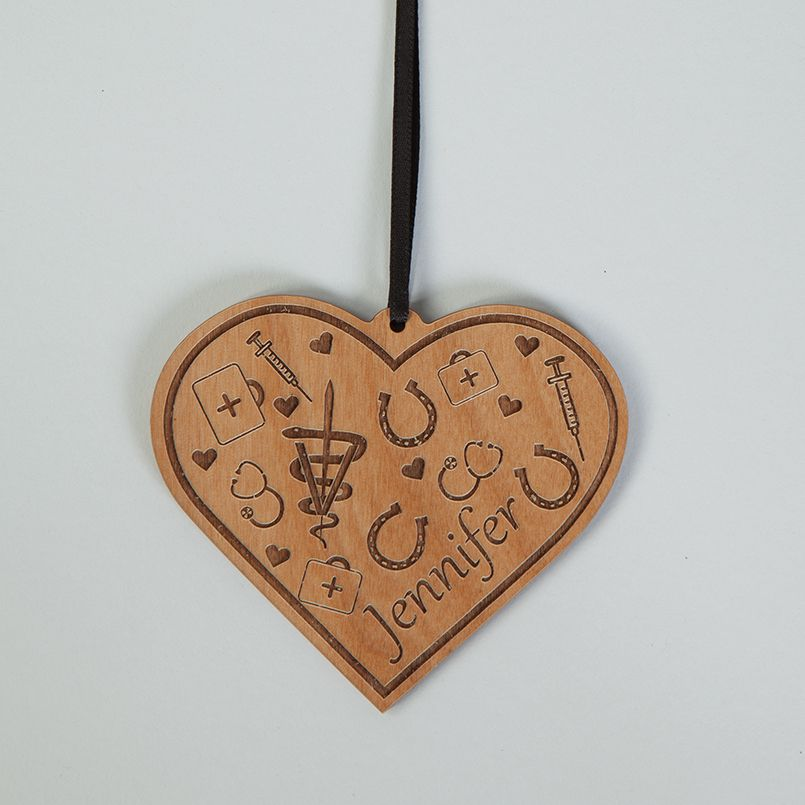 Equine Etched Wood Ornament Personalized Heart Shaped Wooden