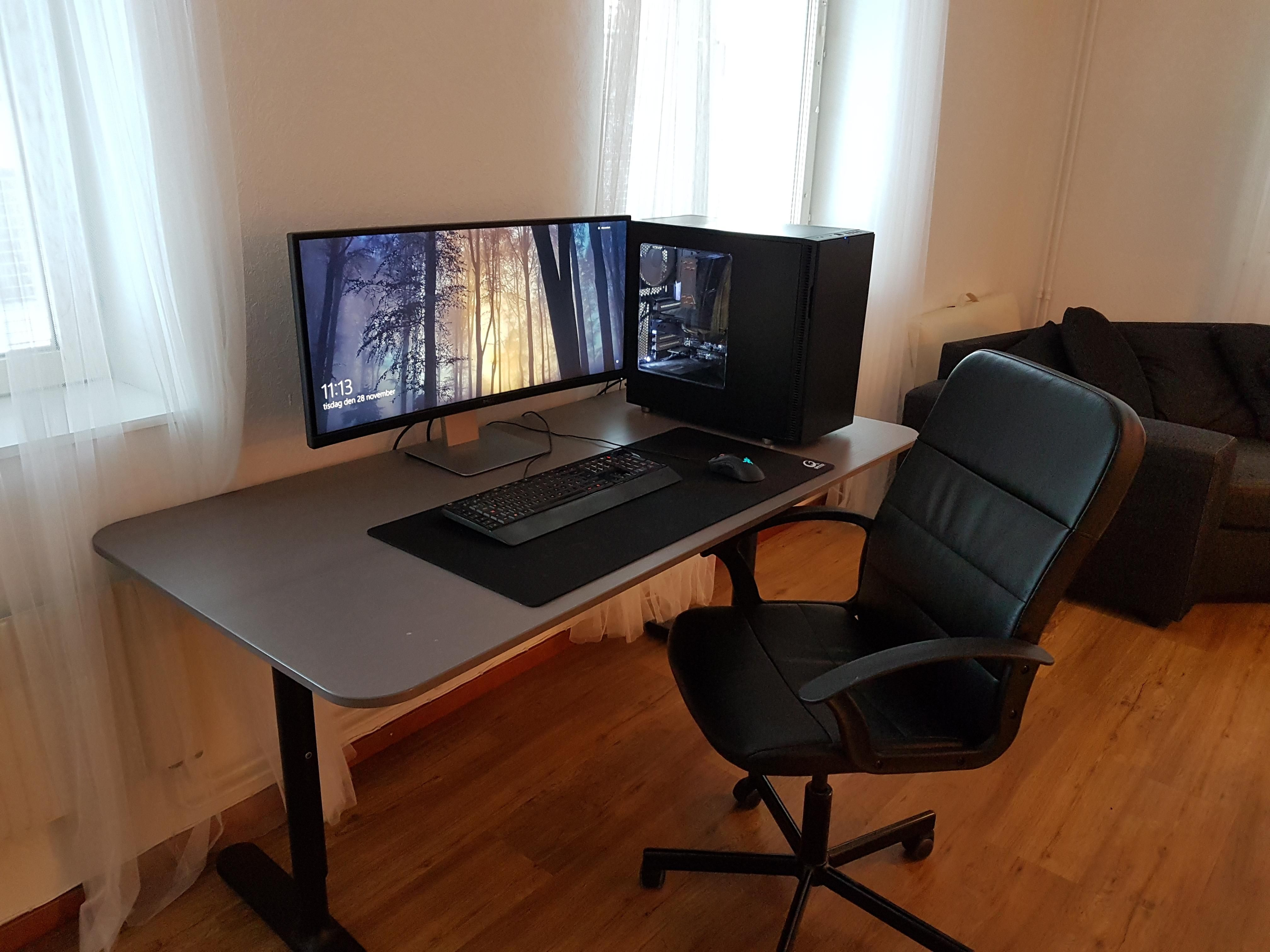 of tv monitors attic luxury reddit pc console two via gaming computer l and desk for station shaped user