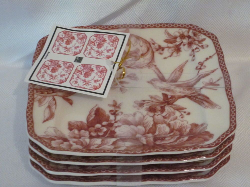 222 fifth adelaide maroon red french toile bird floral appetizer cake plates 8. White China ... & 222 fifth adelaide maroon red french toile bird floral appetizer ...