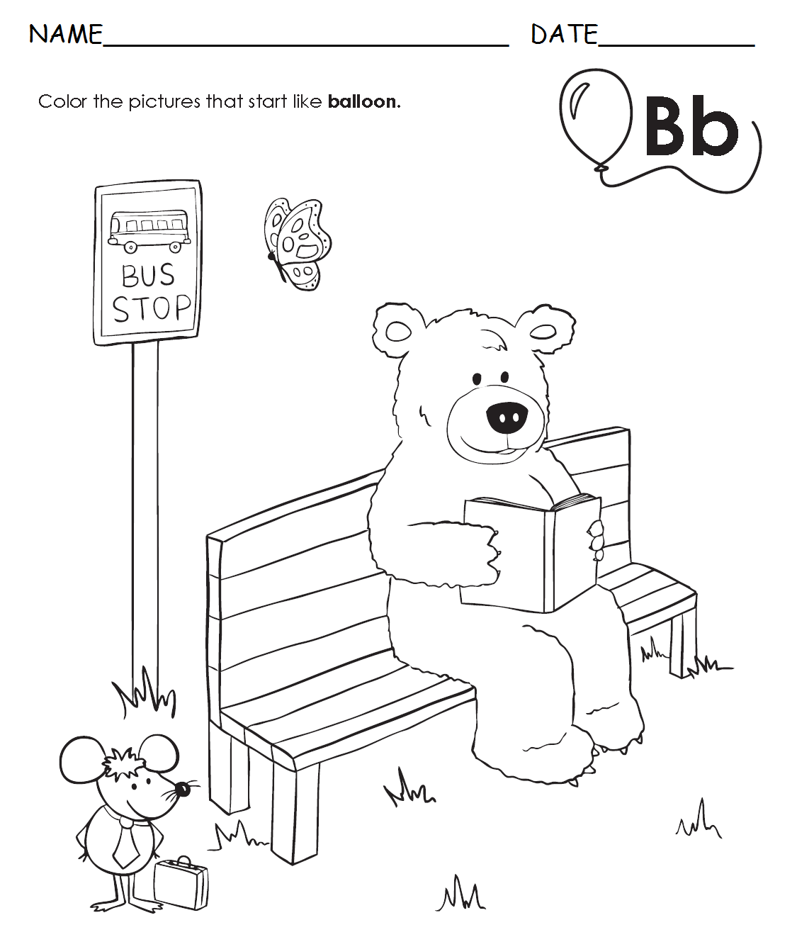 Letter B Bear And Balloon