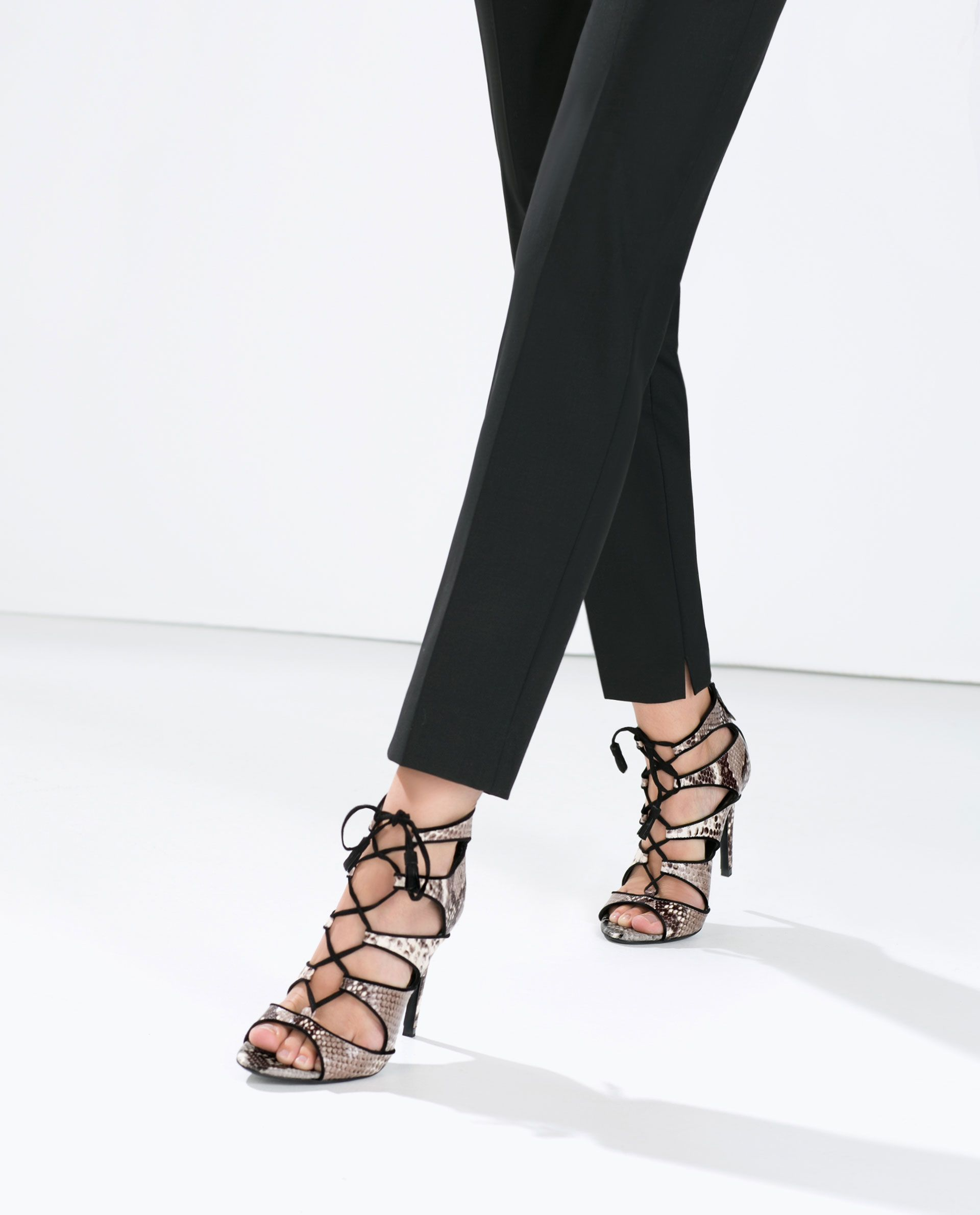 ca39f7d7d92 Image 2 of HIGH-HEELED SNAKE PRINT LEATHER SANDAL from Zara