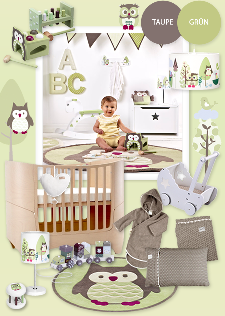 babyzimmer mit eulen in gr n taupe babyzimmer pinterest babyzimmer eule und gr n. Black Bedroom Furniture Sets. Home Design Ideas