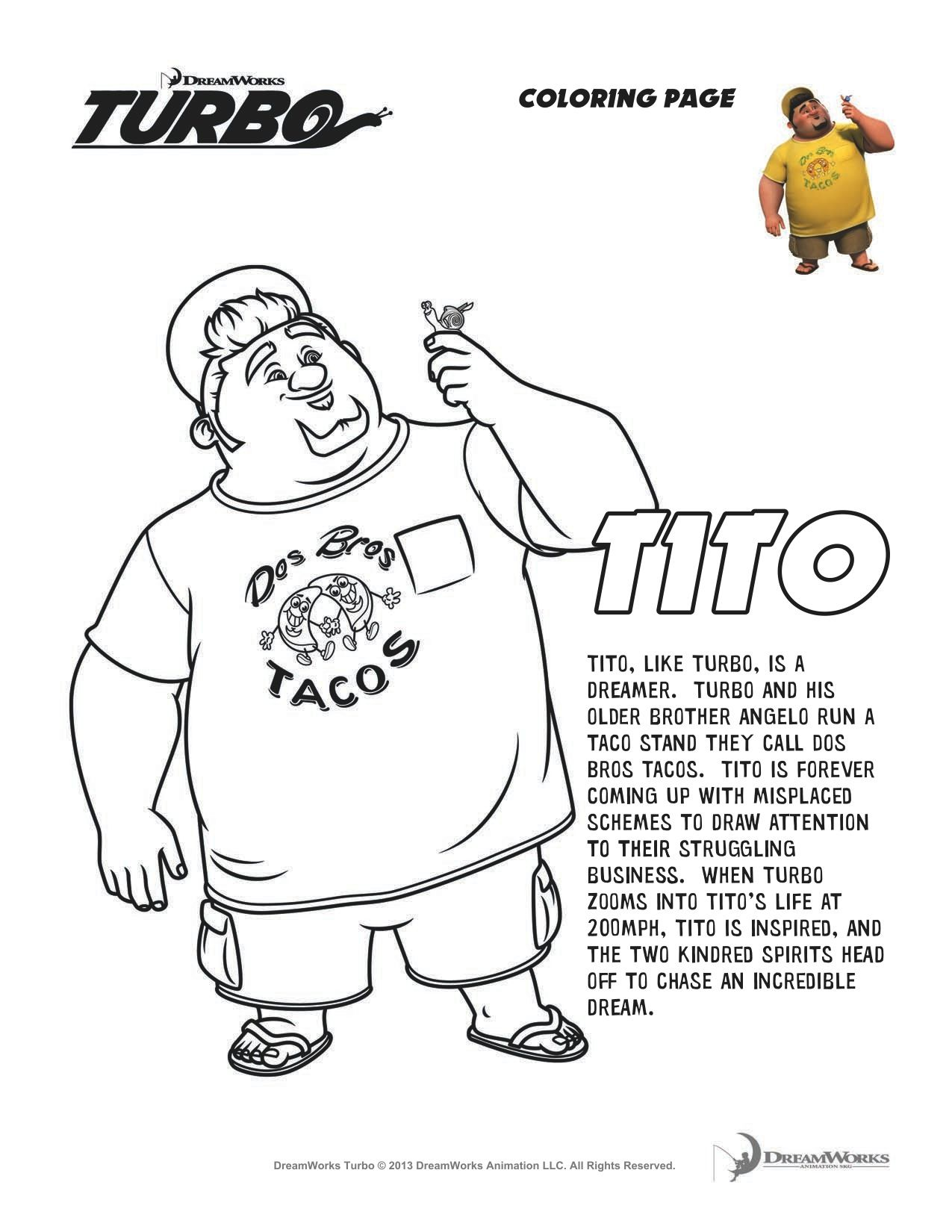 Turbo \'Tito\' Coloring Sheet   Rhys\' birthday   Pinterest