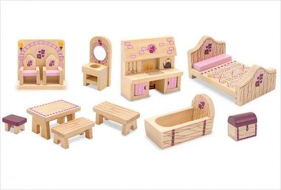 meubles en bois Maison de Poupée Maison de Poupée Mobilier chambre Mobilier de poupée bois 14 Pcs