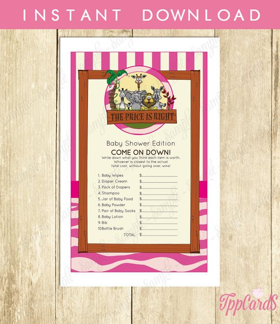 Instant Download Pink Safari Price Is Right Baby Shower Game Cards