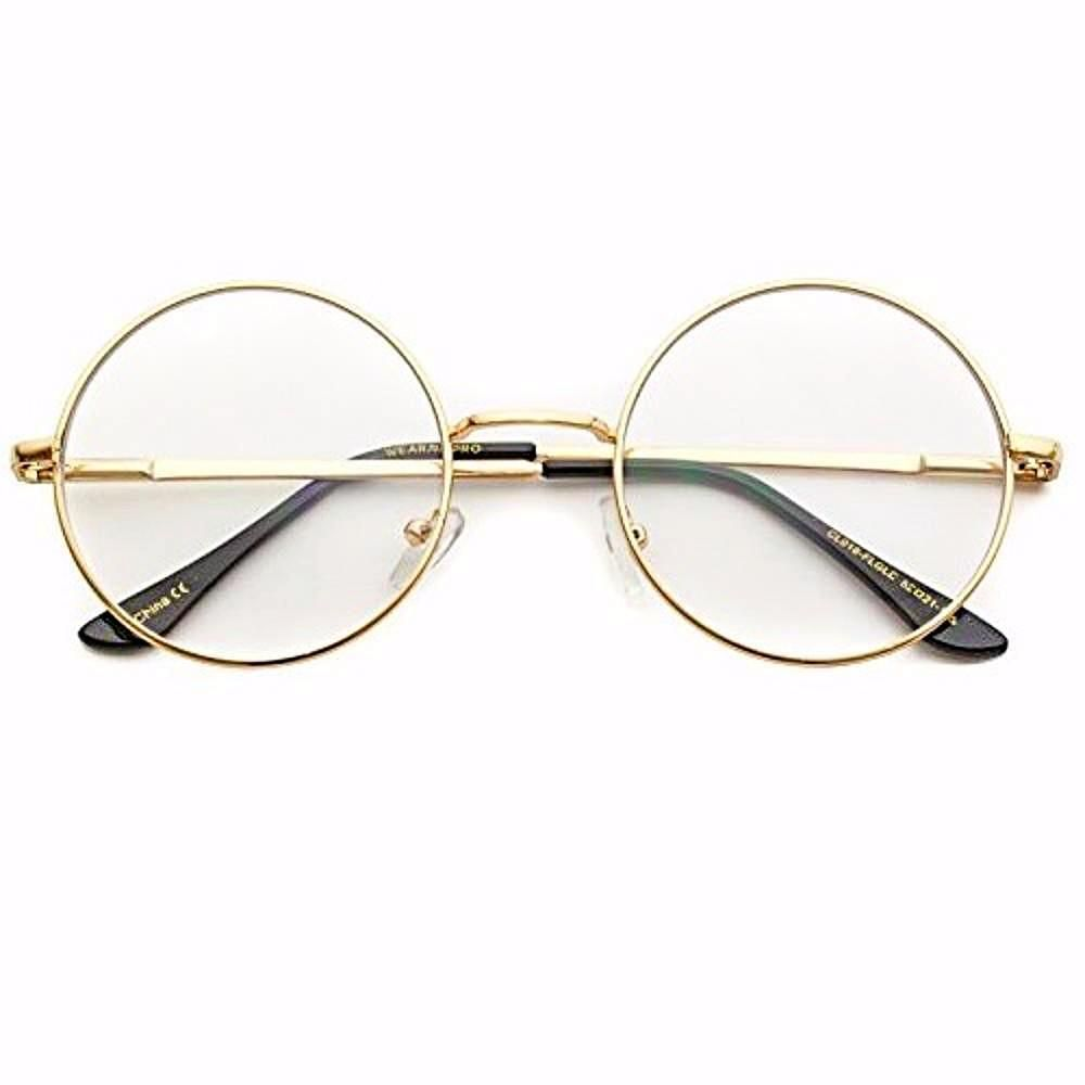 00122b5b808e5 Classic clear round full metal clear lens glasses! Perfect pair of clear  glasses for any occasion. Dimensions  Frame Width  141mm Lens Width  52mm  Lens ...