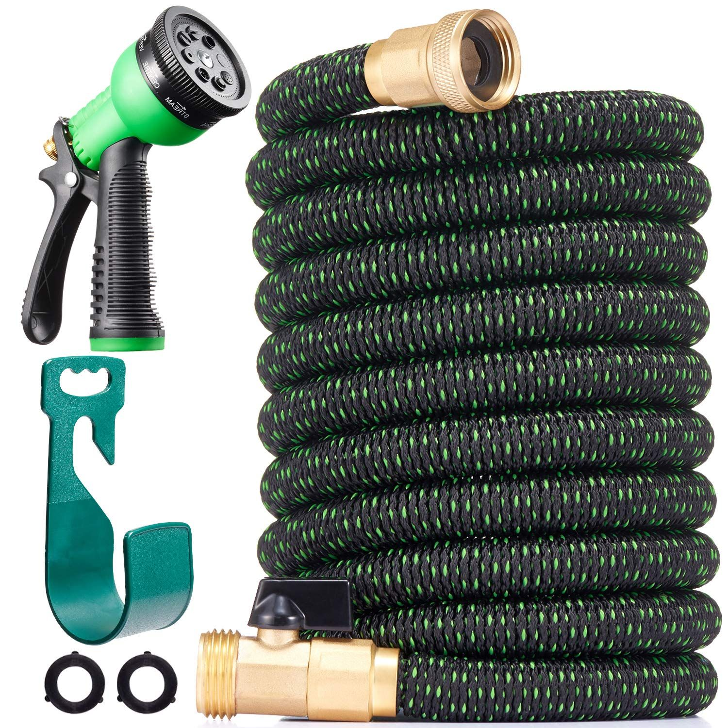 Linquo 125 Ft Expandable Garden Retractable Water Hose Hose Holder Retractable Hose