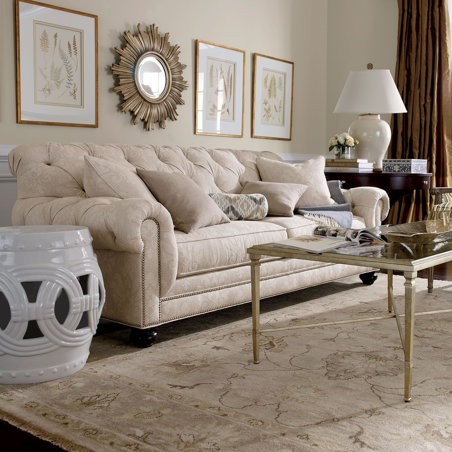 Neutral rooms. Ethan Allen living rooms. Ethan Allen furniture. Ethan Allen sofas.