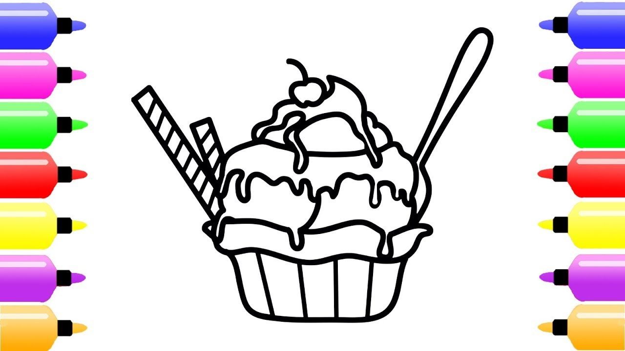 How To Draw Ice Cream Scoops In Waffle Cup For Kids Coloring Art Page