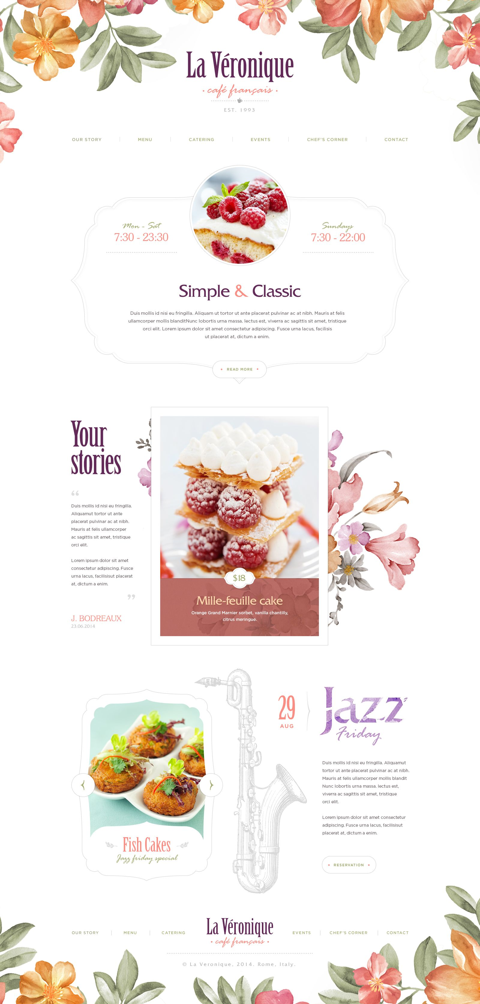Onepage Webdesign Website Graphic Illustration Cafe Food Cake Design