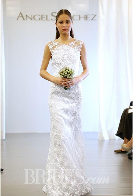A totally unique neckline on this #weddingdress by @angelsanchezpr | Brides.com