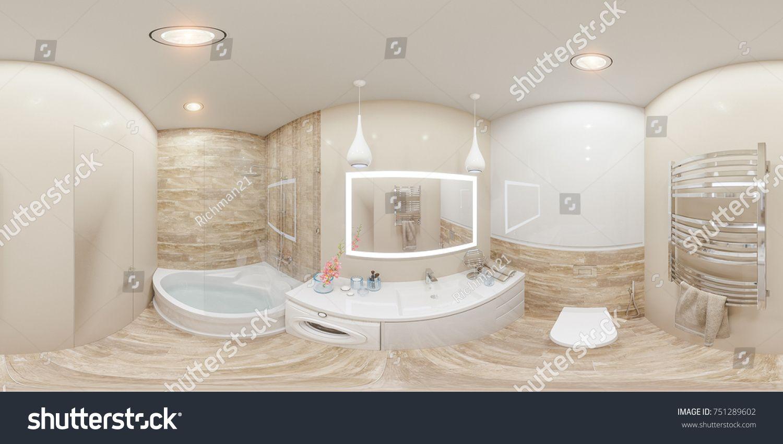 3d illustration spherical 360 degrees, seamless panorama of bathroom ...