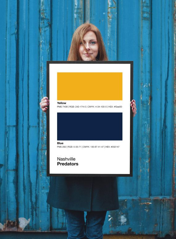 Nashville Predators Pantone Poster Nhl Hockey Man Cave Predator Print Boyfr Baylor University Bears University Of Tennessee University Of Miami Hurricanes